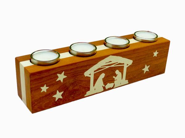 adventní dřevěný svícen s motivem betléma