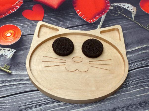 Dětská dřevěná servírovací miska Kočka